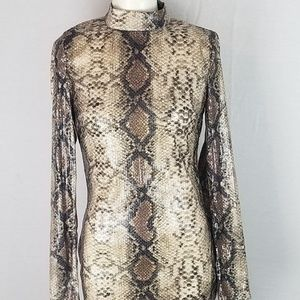 NWT Missguided snake print sequin body con dress